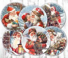 "Vintage Santa Digital Collage Sheet 4"" 3"" 2.5"" 2 inch circles, Round Coasters, Victorian Christmas Ephemera Snowy Xmas Noel (EC08-c) by collageva on Etsy"