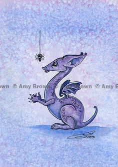 ACEO Little dragon with spider by Amy Brown Limited by AmyBrownArt