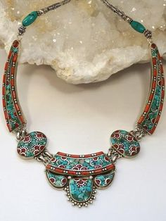 Coral and Turquoise Inlaid Mosaic Necklace 1 - Andrea Jaye Collection
