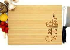 Personalized Cutting Board (Pictured in Natural), approx. 12 x 16 inches, Fish and Wine Mongram - Wedding gifts, Housewarming gifts
