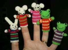 Finger puppets crochet pattern toy for Bunny Rabbit, Mouse and Green Frog. Crochet Mouse, Knit Or Crochet, Crochet Crafts, Crochet Dolls, Yarn Crafts, Crochet Stitches, Crochet Projects, Amigurumi Patterns, Knitting Patterns