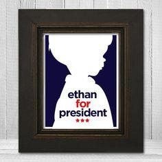 Custom 11x14 Boys Room Print, Presidential Campaign Art Print, Red White and Blue Art for Boys Room Decoration. $23.00, via Etsy.