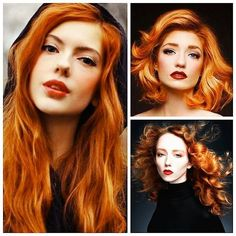 Red head. Red hair. Carrot orange hair color