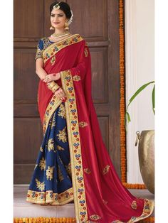Incredible Combination of Red and Nevy Blue Online Georgette Saree