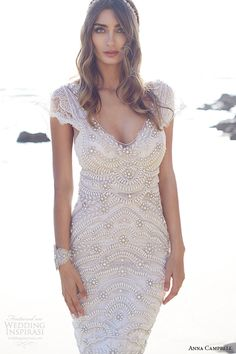 anna campbell 2015 bridal dresse cap sleeves scoop neckline beaded bodice stunning fit to flare mermaid wedding dress coco embellished front view