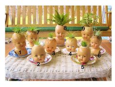 One of the creepiest things I have ever seen.  Vintage Doll Head Planters