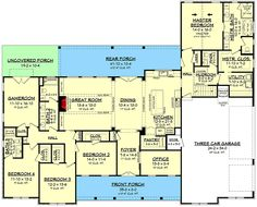 Plan Expanded Modern Farmhouse with a Game Room and a Bonus Room Expanded Modern Farmhouse with a Game Room and a Bonus Room - floor plan - Main Level Family House Plans, Ranch House Plans, Best House Plans, Dream House Plans, House Floor Plans, Building Plans, Building A House, Modern Farmhouse Plans, Farmhouse Table