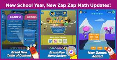 New Zap Zap Math Updates for The New School Year! Get your kids back in the game, math wise   Download Zap Zap Math on www.zapzapmath.com
