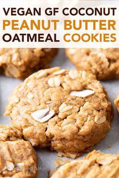 Peanut Butter Coconut Oatmeal Cookies (Vegan, Gluten Free): an easy recipe for deliciously thick, chewy peanut butter cookies bursting with coconut and oats. Cookies Sans Gluten, Dessert Sans Gluten, Gluten Free Desserts, Cookies Vegan, Vegan Gluten Free, Dessert Recipes, Dairy Free, Sugar Free Vegan, Sugar Free Cookies