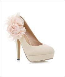 Elegante Wunderschöne Perlen Blume High Heels Beige Pumps Abendschuhe Partyschuhe