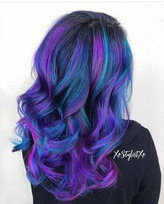 Blue Teal Hair Pastel Bright Colour Color Coloured Colored Curls Curl Curly purple