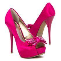 Qupid Women's Open Toe Shoes High Heel Pumps Bridal Rhinestone Stilettos, Fuchsia Satin