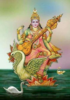 Happy Basant Panchami 2020 Wishes, Images,Status,Shayari,quotes Shiva Hindu, Hindu Deities, Krishna Art, Hindu Art, Saraswati Goddess, Kali Goddess, Goddess Art, Saraswati Mata, Mother Goddess