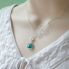 Glass Drop and Branch Necklace - 'Florence Ruby' Freshwater Pearls and Sterling Silver Chain