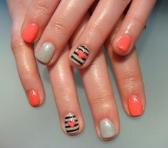 Stripes & hearts nail art.
