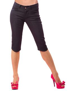 "Women's ""Bermuda Denim"" Capri Pants by Pinky Pinups (Black)"