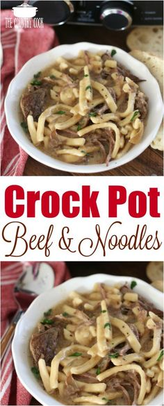 Crock Pot Beef and Noodles recipe from The Country Cook #beef #recipes #slowcooker #crockpot #dinner #ideas