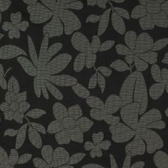 Black fabric (floral drapery / curtains) Sofia Midnight by Charles Parsons Interiors