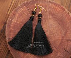 Black Silk Long Tassel Earrings with Crystal Beads Fashion Fringe Earrings