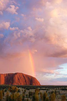 """ Rainbow over Uluru, Uluru Kata Tjuta NP 2017 Nicolas PINEL "" Rainbow over Uluru is also known as Ayers Rock was seen at Uluṟu-Kata Tjuṯa National Park in the Northern Territory of. Outback Australia, Australia Travel, Nature Aesthetic, Travel Aesthetic, Ayers Rock Australia, Places To Travel, Places To Go, Destinations, Roadtrip"