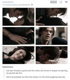 Um, there is also that intense sex scene where Jared looks like he's going to eat/murder Gen while sexing her. Poor Thomas...and baby!Pada. It will be West, JJ will have already seen it and will be crying in the corner bc Uncle Jay and Aunt Gen! Ewwwww! West will get a lecture in front of the kids and a pat on the back from Misha when they get home.