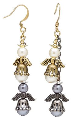 Earrings with Glass Pearls, Gunmetal-Plated Brass and Antiqued Gold-Plated Brass Bead Caps and Pewter Beads