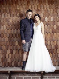 Hochzeitspaar trachtig kombiniert Lederhosen, Elegant, One Shoulder Wedding Dress, German, Wedding Dresses, Fashion, Dress Wedding, Jackets, Classy