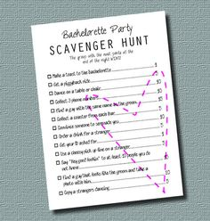 Digital Ready to Print PDF Bachelorette Party Scavenger Hunt by InStyleInSpirations, $4.00