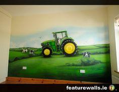 John Deere Bedroom Furniture | john deere mural with sheep dog and cows mural hand painted by