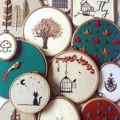 Great embroidery designs in the hoop. Instpiration for own embroidery pictures.- Tolle Stickmotive im Stickrahmen. Great embroidery designs in the hoop. Hand Embroidery Stitches, Embroidery Hoop Art, Hand Embroidery Designs, Cross Stitch Embroidery, Cross Stitch Patterns, Embroidery Ideas, Hand Stitching, Simple Embroidery, Needlepoint Patterns