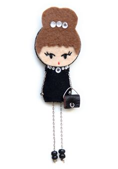 Audrey Hepburn brooche doll
