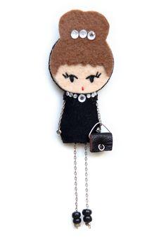 Audrey Hepburn # felt dolls # brooche doll # custom doll # minimis