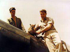 Squadron mascot - a Puma named Chatta with pilots. Panama