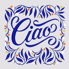 Ciao! ...so beautiful and perfect,   you just can't stop staring at it! #Typographydesign #letteringdesignideas #letteringdesign