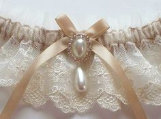 Wedding Garter Set in Ivory Lace on Champagne Band by JLWeddings, $35.50