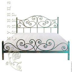 Купить Кованая кровать Мгновение - комбинированный, зеленый, золотой, красный, сталь, патина, кровать на заказ