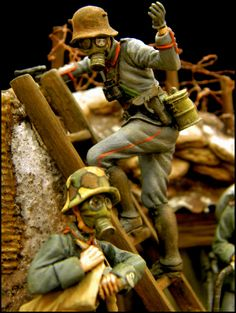 WW1 German soldiers. SCAHMS The Southern California Area Historical Miniatures Society #WW1 #vignette