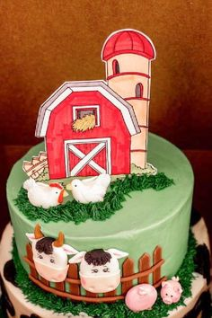 Don't miss this adorable barnyard bash! The cake is so cute! See more party ideas and share yours at CatchMyParty.com Animal Birthday, Girl Birthday, Birthday Parties, Birthday Cake, Bridal Shower Cakes, Baby Shower Cakes, Farm Cake, Animal Cakes, Rustic Cake