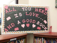 Valentine's Day bulletin board for library
