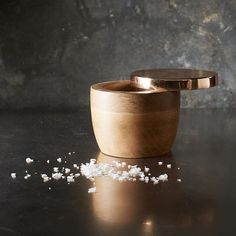 Wood + Copper Salt Cellar by west elm / design tableware West Elm, Casa Retro, Kitchenware, Tableware, Salt Box, Copper Rose, Kitchen And Bath, Kitchen Stuff, Kitchen Tools