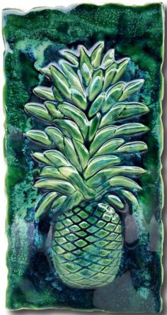 "Kitchen Plaque Pineapple Green Design 8.5""x17.5"" MP05"
