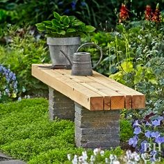 DIY a simple seat that creates a comfortable spot to contemplate the trees and flowers and other garden attractions. With this easy step-by-step guide, you'll have a sturdy bench in your garden for years to come! - This DIY Bench Looks Good in Any Garden Outdoor Garden Bench, Outdoor Gardens, Diy Garden Benches, Garden Bench Seat, Outside Benches, Diy Bank, Garden Storage Shed, Diy Garden Furniture, Furniture Ideas