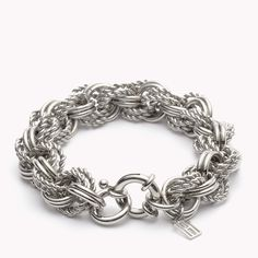 Tommy Hilfiger Bracelet. Beautiful multilink bracelet made from stainless steel with a nautical loop clasp.