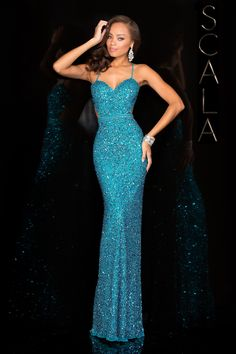 #SCALA Spring 2016 style 48389 Turquoise! #scalausa #spring2016 #prom2016 #gown #promdress #eveningwear #dress #sequins #specialoccasion #prom2k16 www.scalausa.com