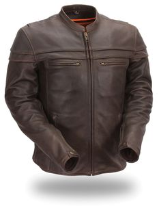 Mens Brown Sporty Scooter Leather Motorcycle Jacket by First Mfg.  www.mymotorcycleclothing.com