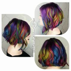 Rainbow hair Mermaid hair color and layered lob haircut by Michelle Saunders instagram.com/hotonbeauty