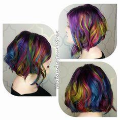 Rainbow hair Mermaid hair color and layered lob haircut by Michelle Saunders instagram.com/hotonbeauty