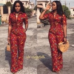 BEAUTIFUL ANKARA GOWNS suit girls with any figure. African Print Pants, African Print Dresses, African Print Fashion, African Fashion Dresses, African Dress, African Outfits, African Print Jumpsuit, Ankara Jumpsuit, African Attire