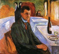 와인병을 배경으로 한 자화상 (1906) / 에드바드 뭉크의 자화상 / 평생을 정신쇠약증에 시달리던 그의 정신상태가 자화상에 담겨있다.