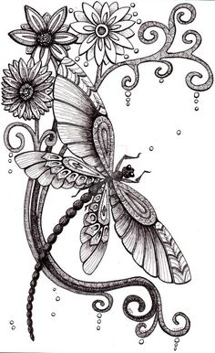 Dragonfly Drawing, Dragonfly Tattoo Design, Dragonfly Art, Flower Tattoo Designs, Flower Tattoos, Butterfly Tattoos, Dragonfly Illustration, Butterfly Painting, Tatoo Art
